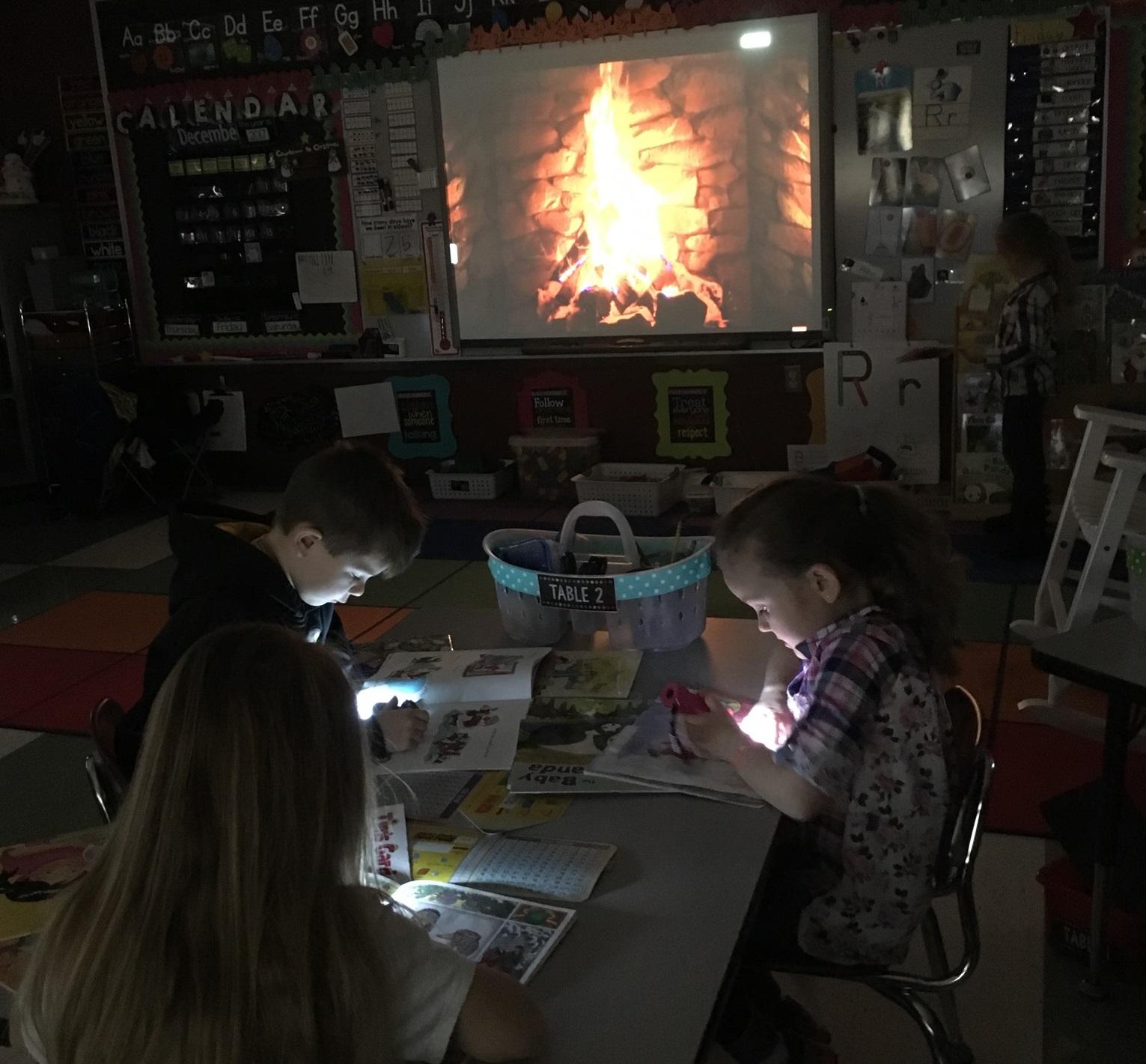 Kindergarten Flashlight Friday by the Fire