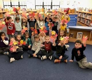 Kindergarten Turkeys in the Library